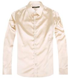 Ivory Colors Wedding Dresses NZ - 2017 Yellow Luxury the groom shirt male long sleeve wedding shirt men's party Artificial silk dress M-3XL 21 colors FZS28