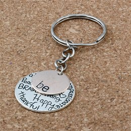 Happy rings online shopping - MIC DIY Accessories Material Zinc Alloy quot Be quot Graffiti Happy Strong Thankfull Charm Band Chain key Ring