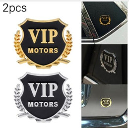 Diy metal car online shopping - 2Pcs set Car Sticker VIP MOTORS Metal Car Badge Decal Door Window Body Auto Decor DIY Sticker Car Decoration KKA4870