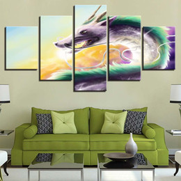 Piece Abstract Canvas Wall Prints Australia - Modern Home On Canvas Abstract 5 Pieces Chromatic Dragons Frame Decor For Living Room HD Print Painting Wall Art Modular Picture