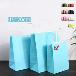$enCountryForm.capitalKeyWord Canada - Fashionable Cloth Shoes Gift Paper Bags Sky Blue Kraft Paper Handle Shopping Bag Wedding Birthday Christmas New Year Party Gift Package Bags