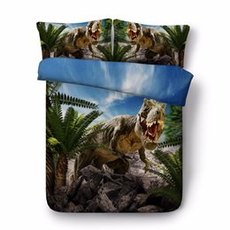 China Free shipping 3d animal dinosaur bedding set 1 duvet cover&2 pillow cases twin full queen king super king size home textile supplier super king size 3d bedding sets suppliers