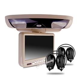 Sd Dvd Player Australia - 1Pc 9 inch roof mount car dvd player with IR wireless headphone USB SD FM Game grey beige black