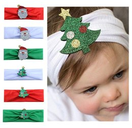 Wholesale Christmas Hairbands Baby Kids Elastic Floral Christmas tree Stretch Headband Photo Prop Gift Hairband Accessories Headwear colors