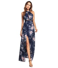 China Lace up halter floral long dress Women summer bohemian seaside holiday chic backless evening party maxi sleeveless dress Hollow sexy dress cheap evening maxi dress split suppliers