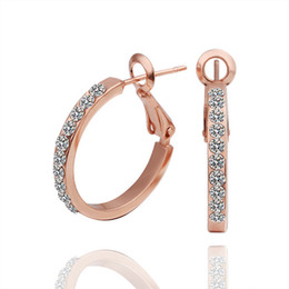 Wholesale Copper Hoop Earrings Canada - whole saleUSTAR Rose Gold color Copper Austrian Crystals Hoop Earrings Wedding Jewelry Accessoriestop quality bijoux gift