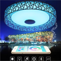 Discount warm audio - APP RGB Ceiling Light 36W Dimmable Colorful Party Lamp Bluetooth Music Audio lamp 90-265V Metal Acrylic Fixture flush mo
