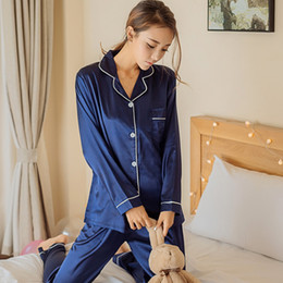 Женщины пижамы пижамы набор атласные шелковые кружева с длинным рукавом повседневная топы + брюки из двух частей домашней одежды на Распродаже