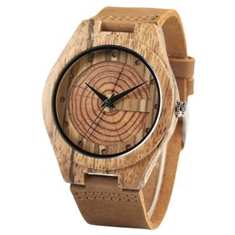 brown gift tags UK - Fashion Brown Bamboo Growth Natural Handmade Quartz Wrist Wooden Watches Men Genuine Leather Band Men's Clock Gifts