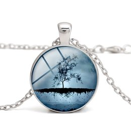 $enCountryForm.capitalKeyWord NZ - Tree of Life Pendant Necklaces Glass Cabochon Blue Time Gemstone Rose Red Clothes Accessory Girl Gifts Women Charm Alloy Jewelry Wholesale