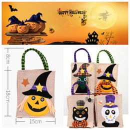 decorations party letters 2019 - Halloween Pumpkin Candy Bag Cute Kid Three-dimensional Hanging Candy Box Bags Bucket Candy Pot Party Decoration JLE68 ch