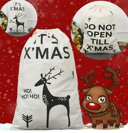 Discount sacking bags wholesale - New holiday drawstring bags gift canvas bag cotton Flying deer environmental protection Christmas Santa Sack Bags Christ