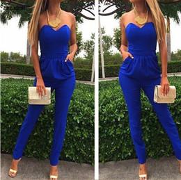 5ad48e5fbe Rompers Womens Jumpsuit Sexy Blue Pockets Slim Pants Bodysuit Sleeveless Jumpsuits  Xxl Macacao Feminino Macaquinhos
