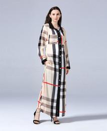 Новый дизайн женщины плед пуговицах кардиган блузка платье мусульманская рубашка платья Лето с длинными рукавами повседневная кардиган плюс размер L-7XL