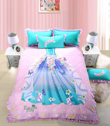 kids cartoon bedding set queen size NZ - 100% Cotton Princess Skirt Cartoon Bedding set Queen Single Twin size Kids Girls Fitsheet Bedsheet set Duvet cover Pillow shams