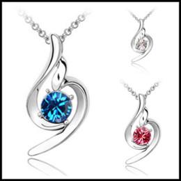 2b66a0a3f Bulk Lots 2.5*1.3cm Alloy Crystal Rhinestone Pendants Swarovski Amethyst 10 Colors  Jewelry Choker with 45cm Silver Chain