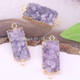 $enCountryForm.capitalKeyWord Australia - 5Pcs Rectangle Natural Stone Purple Quartz Gems Connector Pendant Beads