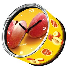 Wholesale Only Days Arrive To USA By E Packet Air Shipping Peach Table Clock Fruit Design Fridge Magnetic Wall Clock Gifts