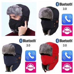 Wireless Headphones Mic Blue Australia - Autumn Winter Wireless Bluetooth Smart Cap Headset Headphone Speaker Mic Bluetooth Hat Warm Beanie Hat MMA771 50pcs