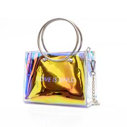$enCountryForm.capitalKeyWord NZ - Women Transparent Handbag Small Crossbody Messenger Bags Chain Laser Shoulder Bag Female Summer Beach PVC Clear Jelly Small Tote