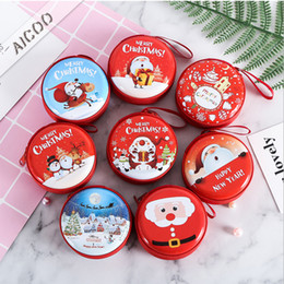Wholesale gift snacks online shopping - Cute Smile Face Christmas Candy Boxes Bag Gifts Holders New Year Coin Earphone Snack Supplies Packaging Party Decorations for Children