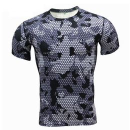 Chinese  2018 Summer Green Camo T Shirts Men Crossfit Compression Shirt Short Sleeve GYMS T-Shirts MMA Fitness Tshirt Top Tees manufacturers
