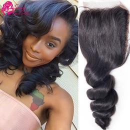 $enCountryForm.capitalKeyWord NZ - Loose Wave Closure Free Middle 3 Part Brazilian Hair Styles Black Women Brazilian Virgin Hair Loose Wave Closure Human Hair SASSY GIRL