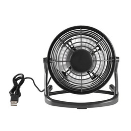 blade fans UK - Portable DC 5V Small Desk USB 4 Blades Cooler Cooling Fan USB Mini Fans Operation Super Mute Silent PC   Laptop   Notebook