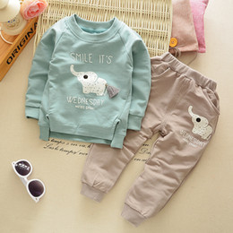 Childrens Animal Shirts Canada - [Mumsbest ]New Spring Autumn Baby Childrens Boys Girls Cartoon Elephant Cotton Clothing Sets T -Shirt +Pants Sets Suit 12m -4t