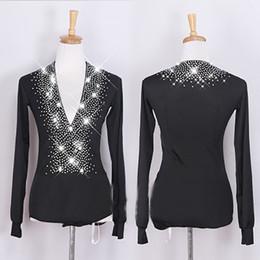Populares Camisas de Baile Latino Para Hombres Color Negro Slim Coat Hombres  Adultos Salón de Baile Profesional Tops Danza Ropa B208 2992e887024