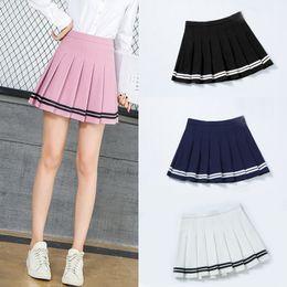 Pink schools uniforms online shopping - SHINYMORA Summer Pleated Mini Skirts for Women High Waist Girls Casual Shorts Skirts Striped Harajuku Japanese School Uniform