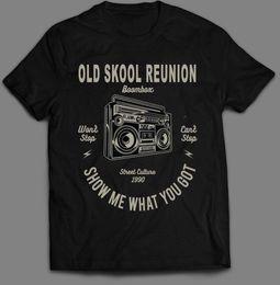Ingrosso OLDSKOOL REUNION BOOMBOX HIPHOP * OLDSKOOL ART * Camicia uomo * FULL FRONT * Maschio Hip Hop divertente Magliette