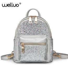 Styles Backpacks Australia - Wellvo Women Shiny Glier Backpack High quality PU Leather Shoulder Bags for Teenage Girls 2018 Fashion Style Rucksack XA252WB