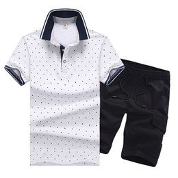 Large Lapel Suits Australia - Men Tracksuit Dot Printed Male Large Yard Running Suit Summer Casual Sportsuit Mens Shirt with Jogger Short Pants