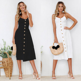 $enCountryForm.capitalKeyWord NZ - Women Boho Solid Dress Summer Sleeveless White Black Solid Buttons Party Evening V-neck Beach Sundress