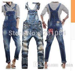 096c856a94b4 Wholesale-Men s Korean style slim Jumpsuits Hole suspenders jeans for men  Mens denim bib pants Blue Denim Overalls Trouser For Man