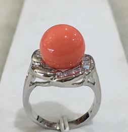 silicone wedding bands 2019 - Nouvelle dame de mode argent plaqu de marqueterie en cristal 12mm orange shell perle anneau TAILLE 6 7 8 9 10 cheap sili