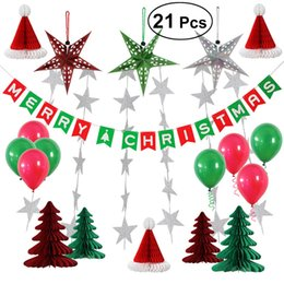 merry christmas balloons NZ - 21Pcs Tissue Paper Flowers Xmas Tree DIY Paper Garland Tassels Merry Christmas Banner And Balloons Kit for Xmas Party Decoration