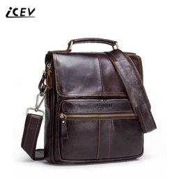 Branded Leather Bags For Men Canada - ICEV New Fashion Simple Crossbody Bags for Men Messenger Bags Handbags Famous Brands Organizer Genuine Leather Bolsos Mujer