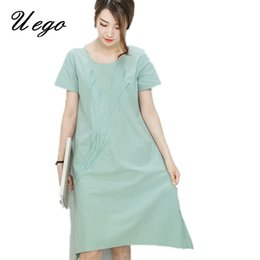 1fd31b03c4 Uego 2017 New fashion Embroidery floral short sleeve women summer dress  cotton linen vintage style dress plus size casual dress