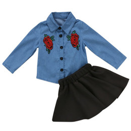 Discount kids girls skirts top dress - New Kids Baby Girls Dresses Outfit Floral Denim Shirt Tops +Tutu Black Skirt Two-piece a Set Clothes Kid Girl Toddler Bo