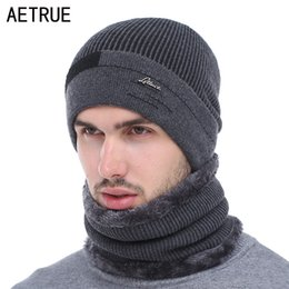 $enCountryForm.capitalKeyWord NZ - AETRUE Skullies Beanies Men Scarf Knitted Hat Cap Male Plus Gorras Bonnet Warm Wool Thick Winter Hats For Men Women Beanie Hat S1020