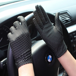 Spring Gloves NZ - 1Pair Polka Dots Women Gloves Summer Spring Spandex Gloves High Elastic Thin Sunscreen Etiquette Fashion Short Glove