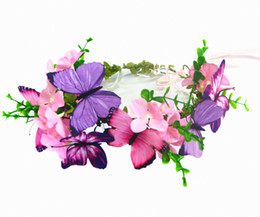 Pink Headpieces UK - pink and purple butterflies and flowers crown wedding hair accessories wedding accessories bridal headband headpiece for women or ladies