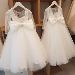 brides maids dresses flower NZ - Open Back Flower Girls Dreses Lace Long Sleeves party communion birthday holiday brides maid girls dress ivory Flower Girl Dress