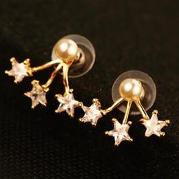 $enCountryForm.capitalKeyWord NZ - New Fashion Korean Star Earrings for Women Luxury Zircon and Pearl Stud Earrings Vintage Jewelry Accessories