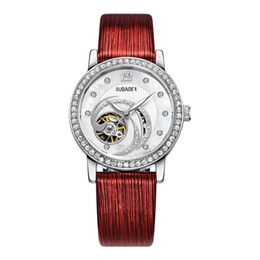 Water resistant sport Watches Women online shopping - woman Automatic Mechanical watch Luxury Brand high quality watches colors dial Hollow Swiss Ladies Rhinestone Leather strap sports watch