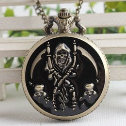 Discount skull pirate watch - Cool Black & Bronze Pirate Skull Case Design Quartz Fob Pocket Watches with Necklace Chain for Men Women Best Gift TPB15
