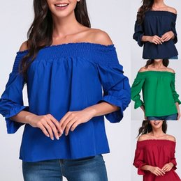 Discount long peplum tops Hot Fashion Sexy T-Shirt Spring Summer Strapless Women T Shirt Bowknot Tops Long Sleeve Slash Neck Womens Shirts Casual Loose Tops