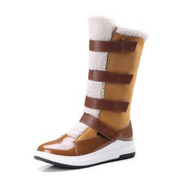 Lady Snow Boots Mid Calf Australia - New Warm Women Mid-calf Snow Boots Winter Snow Shoes For Women Plush Flat Ladies Winter Shoes Leather Fur ADF-9895